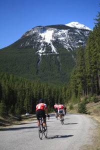 The Bow Valley Parkway is popular with cyclists.