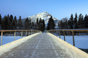 Banff Pedestrian Bridge in winter.