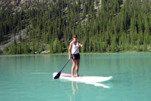 Stand-up paddleboarding, Lower Waterfowl Lake.