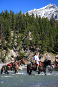 Crossing the Spray River on a Warner Guiding horseback ride.
