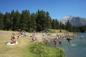 Johnson Lake is the most popular beach in Banff National Park.