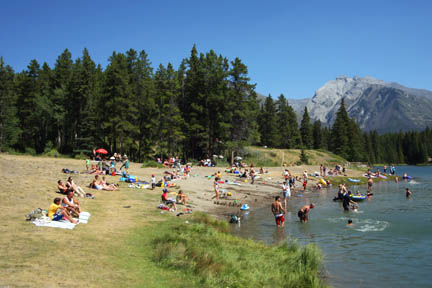 Johnson Lake Is The Most Por Beach In Banff National Park