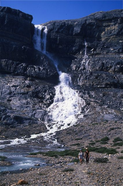 Bow Glacier Falls is at its best during warm, midsummer afternoons.