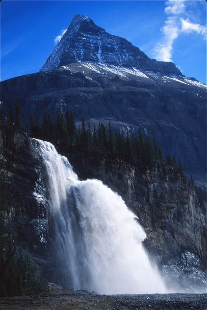 Mount Robson, the Canadian Rockies highest, rises above Emperor Falls. Most people visit the falls on the way to Berg Lake.