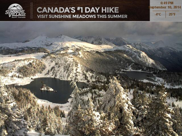 Wednesday, Sept 10, wasn't an ideal day to be hiking in the Sunshine Meadows or anywhere else in the mountain parks, as Sunshine's Rock Isle Lake webcam shows. But better days are on the horizon. Keep checking the Rock Isle webcam link for disappearing snow and glorious autumn hiking conditions.