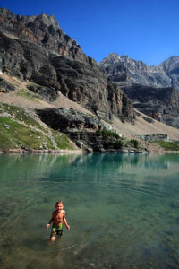 Temperatures in Opabin Lake, high above Lake O'Hara, top out at 4°C (39°F) in summer, but this didn't put off our children during a recent trip.