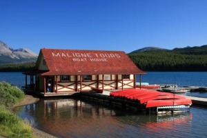 The boathouse at Maligne Lake dates to 1929.