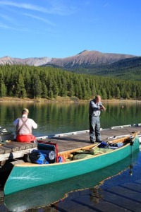 Preparing for a Maligne Lake fishing trip.