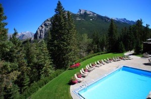 The outdoor pool at the Fairmont Banff Springs is the largest in Banff National Park.